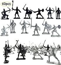 لعبة شخصيات جنود عتيقة من Odowalker مكونة من 60 قطعة من شخصيات جنود عتيقة من العصور الوسطى والمتحاربون وسيف ودرع سودمان أرشاك سولدجرز من العصور الوسطى لعبة شخصيات عسكرية فضية سوداء للأطفال