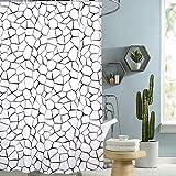 i@HOME Duschvorhang Anti-Schimmel Wasserabweisend Waschbar Anti-Bakteriell Duschvorhäng aus Polyester Badvorhang(Schwarzes Polygon,180x200cm)