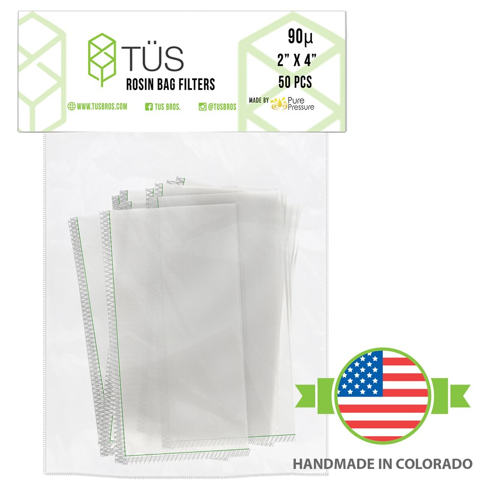 Heavy Duty Rosin Tech Bag Highly Rated for Zero Chances of Blowout 90 Micron Rosin Press Squish Bags /• 2 x 4 /• 50 Pack /• 90u Microns Filter Screen Made from Polyester ft Proprietary Stitching