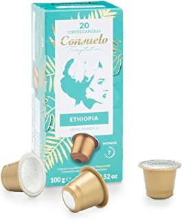 Lot de 100 capsules de café Ethiopia Consuelo, compatibles avec les machines Nespresso* (20x5 boîtes)