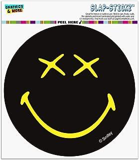 Graphics and More Smiley Smile Dead Happy Black Yellow Face Automotive Car Window Locker Circle Bumper Sticker