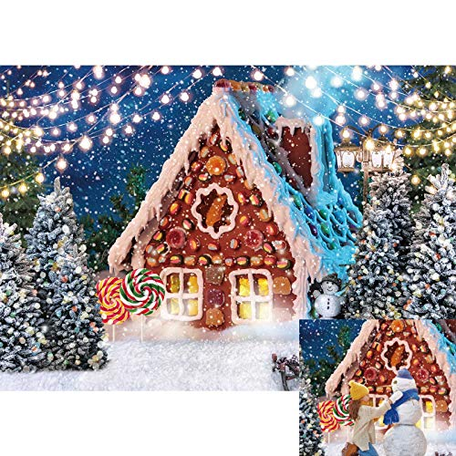 Allenjoy 7x5ft Lollipop Gingerbread House Backdrop Glitter Winter Night Xmas Pine Trees Snowflakes Photography Background for Kids Baby Shower Birthday Party Decor Banner Portrait Photo Booth Props