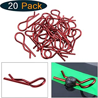 Hobbypark RC 1/10 Body Clips Bent Springy R-Clips Red Anodized Color for Car Crawler Truck Off Road Buggy Drift Touring (20-Pack) (Red)