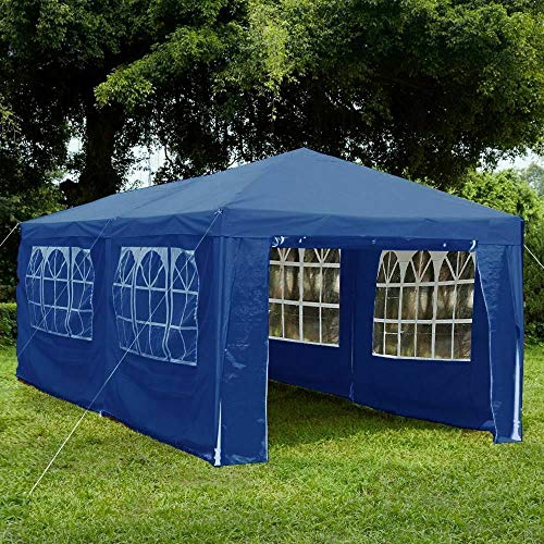 ADHW Gazebo Party Tent Marquee Sides Waterproof Outdoor Garden Canopy Wind Bar PE (Size : 3x6 Blue)