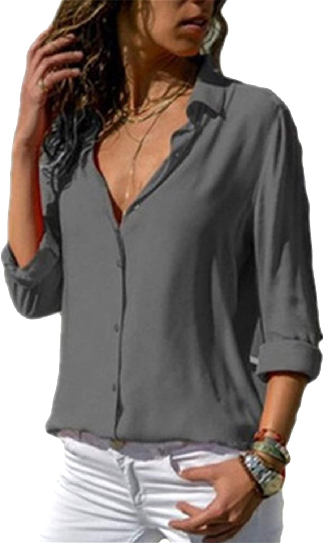 EIDEFE Women's Long Sleeve V Neck Chiffon Blouses Tops Button Down Business Shirts