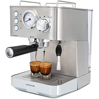 IKOHS Cafetera KAFFETA ESPRESS Cafetera Espress Semiautomática para Espresso y Cappuccinos, Presión 20 Bares, Capacidad 1,25 L, 1100W, Vaporizador