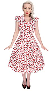 Hearts & Roses Cherry Swing Dress in White (Shipped from The US and US Sizes)