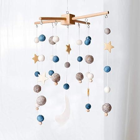 Okawari Home ベッドメリー 木製モービル 星 ブルー ゆらゆら モービル 羊毛フェルト 木のおもちゃ 赤ちゃん ベビー 子供部屋 出産準備 出産祝い プレゼント