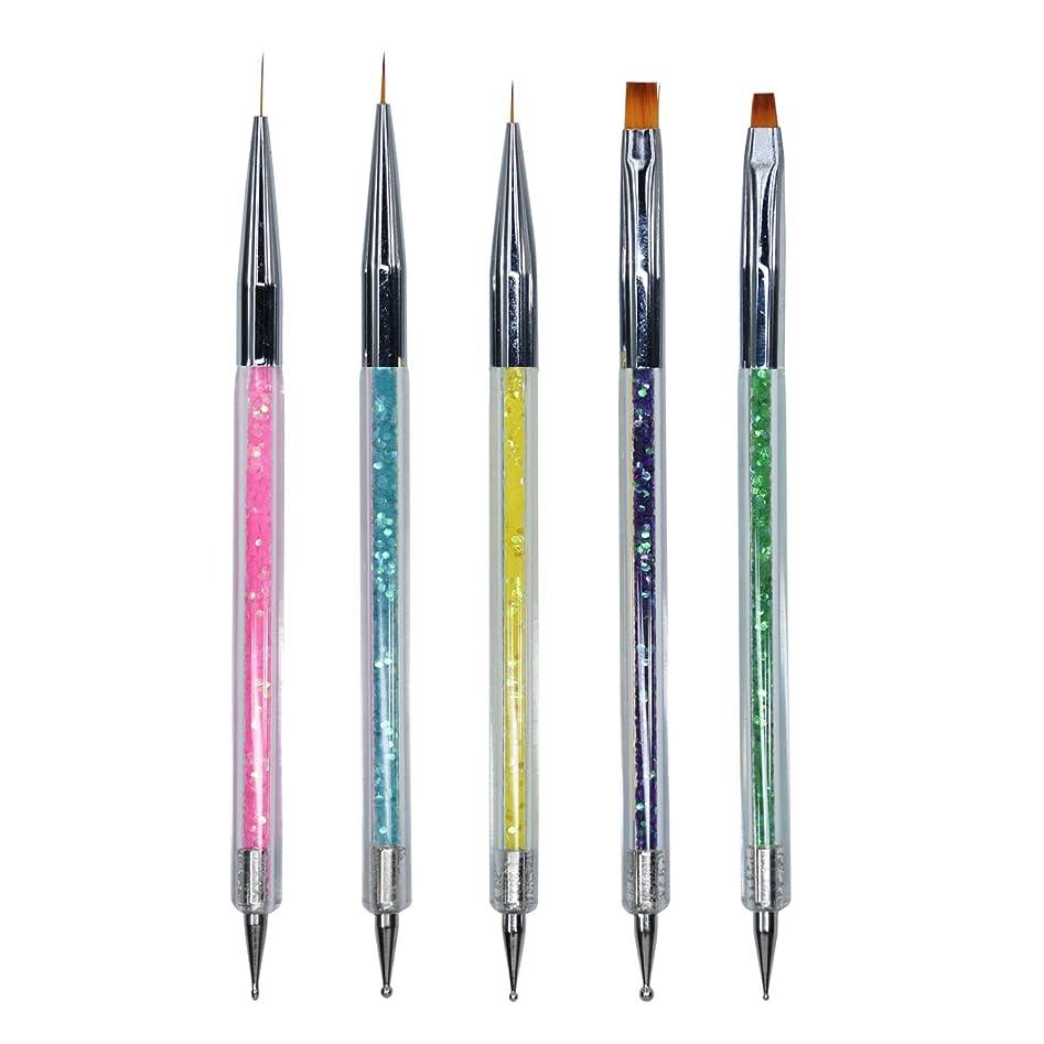まだら性格奪うMissct ネイルアートブラシ 5本セット 2way ネイル筆 ライン 平筆 ドットペン ドット棒 画筆 高級ナイロン筆先 ペン マニキュアツール ジェルネイル 用品道具