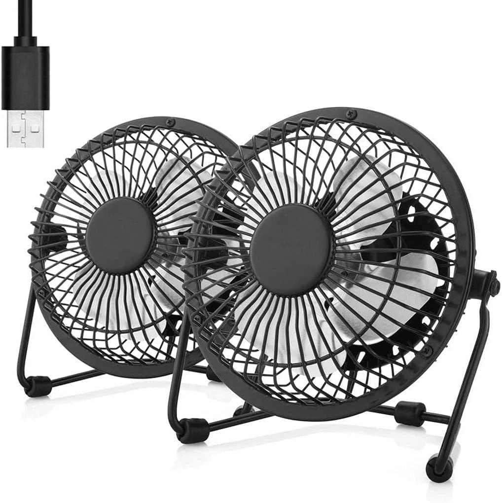6 Inch Desk Fan Small Table Fan Metal USB Fan 2 Pack High Velocity Personal Fan for Desk Office Desktop Bedroom Sleeping Home, 2 Speed, 360° Tilt Angel,Quiet Operation