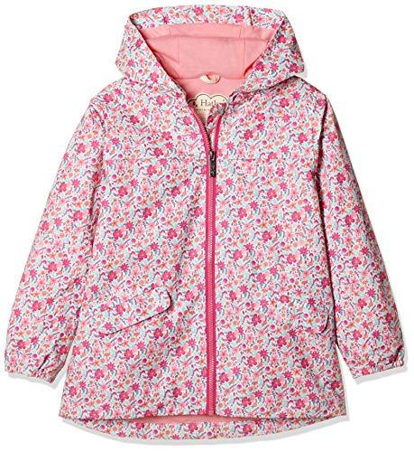 Hatley Mädchen Microfiber Rain Jackets Regenjacke, Weiß (Summer Garden 100), 8 Jahre