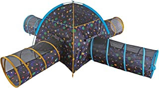 Pacific Play Tents 41855 Kids Galaxy Combo Dome Tent with 4 Tunnels - Glow in the Dark Stars