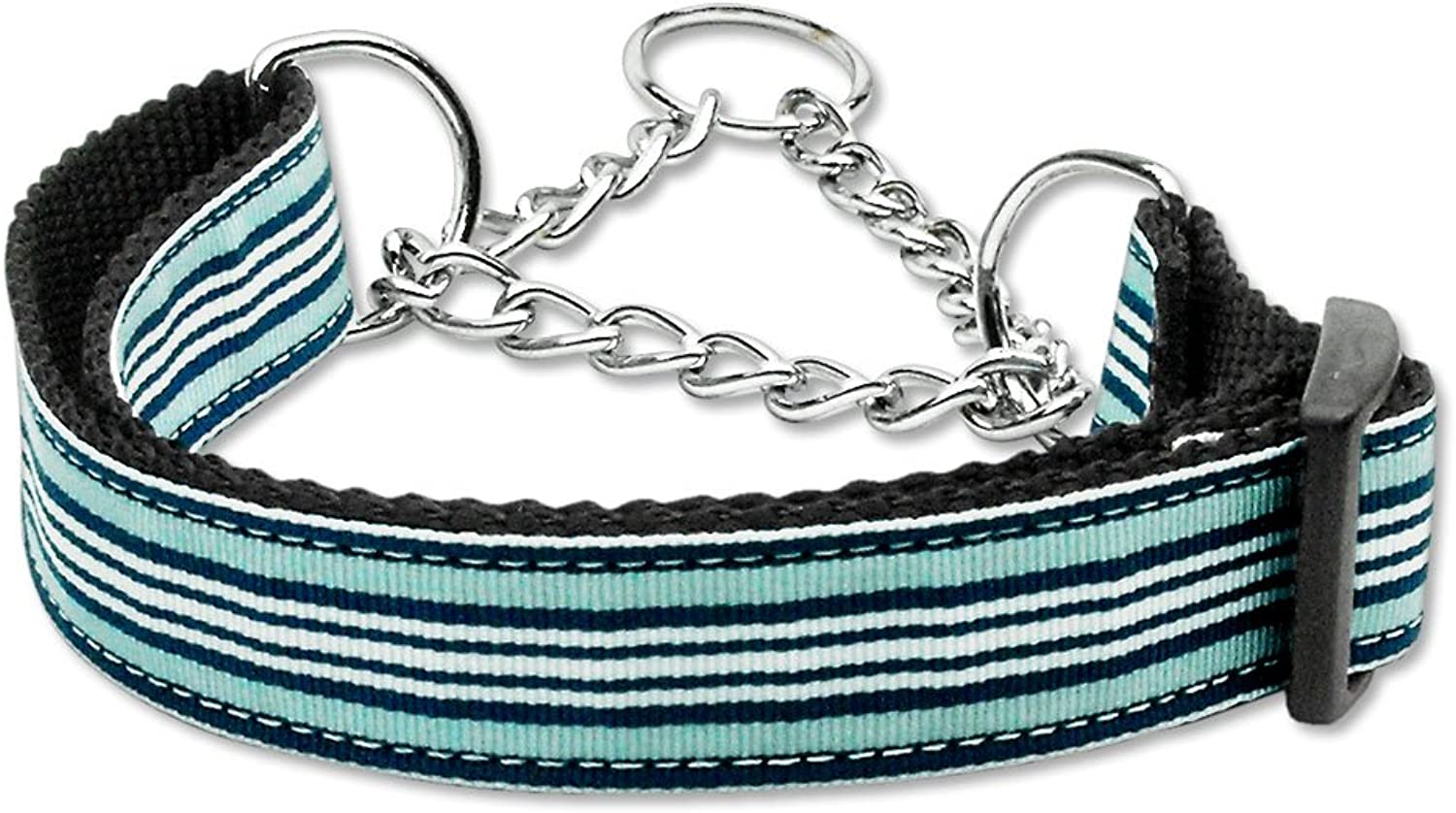 Mirage Pet Products Martingale Preppy Stripes Nylon Ribbon Collars, Large, Light bluee White