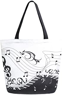 ZzWwR Chic Piano Keyboard Musical Note Large Canvas Shoulder