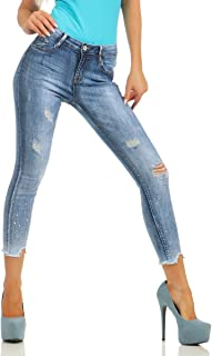 Fashion4Young 10340 Women's Jeans Tube Skinny 7/8 Jeans Stretch Denim Ankle Slim Fit