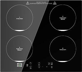 PlaqueInduction 4 Foyers, Table deCuisson àInduction Encastrable 7600 W, Boost PlaquedeCuisson avec Capteur Contrôles...