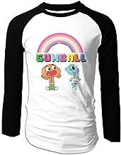 Creamfly Mens The Amazing World Of Gumball Rainbow Long Sleeve Raglan Baseball Tshirt