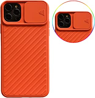 Case for Iphone 11 Pro Max Slide Cover Protection Camera Lens Case Built-In Creative Slide Lens Protector Soft TPU Shockproof Bumper Twill Anti Scratch Back Cover,Orange,11 Pro