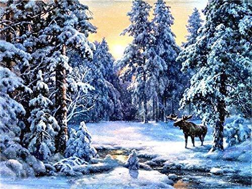 Pintura de diamantes todos los nuevos productos cuadrados de invierno mosaico de paisaje bordado pintura de diamantes para el hogar A2 50x70cm