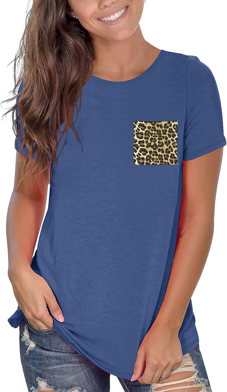 Dbtanjy Women's Short Sleeve Shirts Workout Tops Crew Neck Blouse with Leopard Pocket