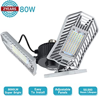 Led Garage Lighting 80W 8000 Lumen Deformable Garage Light Tri Brite Light Adjustable Shop Light for Garage Compatible with E26/27 Socket for Workshop Warehouse