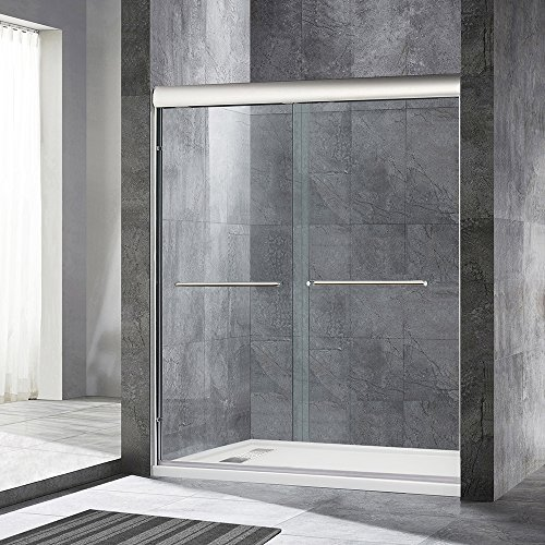 "WoodBridge Semi-Framed Bypass Sliding Shower Door 56"" to 60"" by 72"", Chrome Finish, MSDE6072-C"
