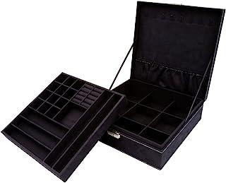 KLOUD City Two-Layer Jewelry Box Organizer Display Storage case with Lock (Black)