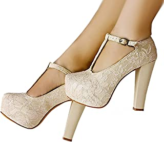 01ebfd7cda09f5 getmorebeauty Women s Marty Janes T-Strappy Lace Women Dress Wedding Shoes