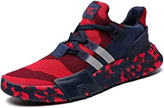 NUWFOR Men Boys Casual Sneakers Sports Running Breathable Flat Camouflage Lace-up Shoes(Dark Blue,8 M US Length:9.7-9.9