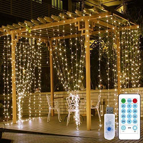 3X3M LED Lichtervorhang für Fenster und Schlafzimmer Deko, 300LEDs Lichterkette Vorhang mit Fernbedienung, USB Lichterkette Innen mit Timer 8 Lichtmodi