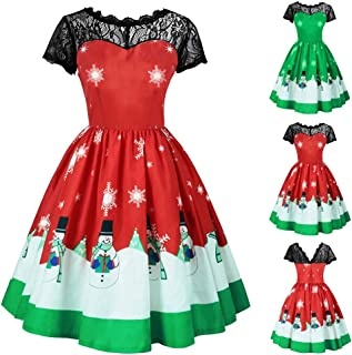 Wllsagl Xouwvpm Women Vintage Elegant Christmas Short Sleeve Lace Patchwork Gown Snowman Snowflakes Printing Evening Party Mini Splice Swing Dress