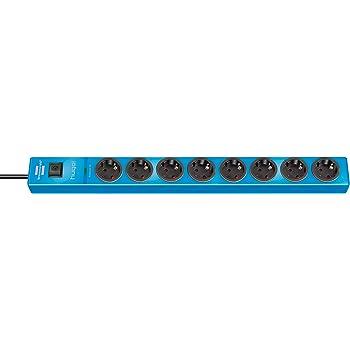 Brennenstuhl hugo! regleta enchufes con 4 tomas y protección sobretensiones hasta 19.500 A (cable de 2 m de largo, interruptor, protección antirayos, montable) azul: Amazon.es: Bricolaje y herramientas