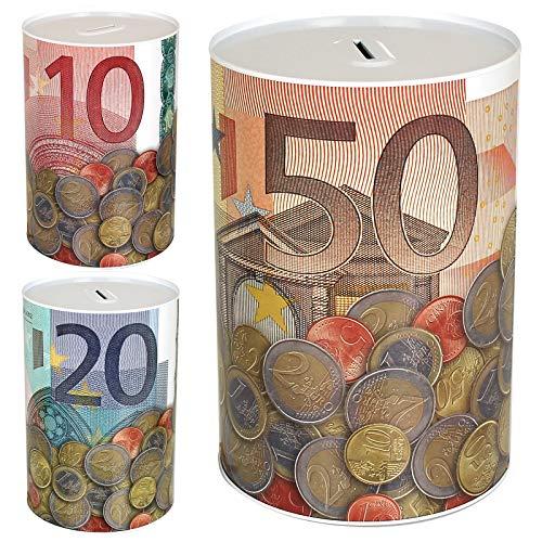 TW24 Spardose Euro Design mit Größenauswahl - Sparbüchse - Sparschwein - Euroschein Dose - Kinder Metallspardose (groß)