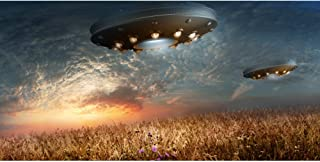 DORCEV UFO Photography Backdrop UFO Invasion Earth Science Fiction Background UFO Flies Over The Countryside Fields Mysterious Spaceship Boys Room Wallpaper Kids Adult Photo Studio Props