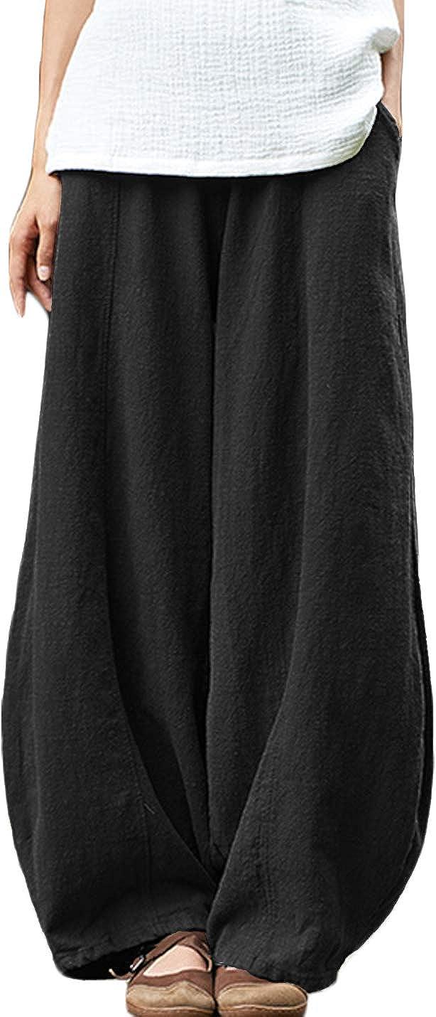 Jenkoon Women's Elastic Waist Cotton Linen Bloomer Baggy Pull On Trousers