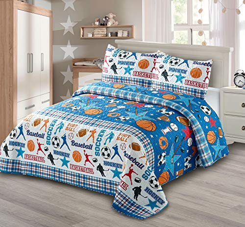 AZORE LINEN Kids' Soft Microfiber Boys and Girls Sports Basketball Baseball Hockey Soccer Football Themed Red White Blue Quilt Bedspread Bedding Coverlet Set (Plaid Blue Sport 2, Twin)