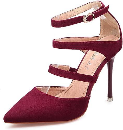 JITIAN Sandales pour Femmes Chaussures Talons Hauts Aiguilles Pointu Sangle Bride Cheville Sandale Bordeaux 40