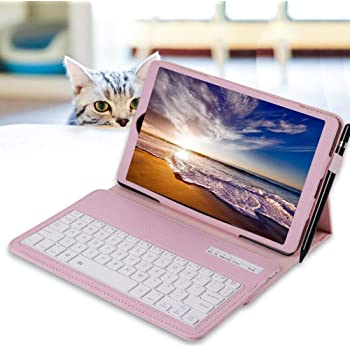 Keyboard ZYooh Detachable Bluetooth Keyboard Case Cover For Samsung Galaxy Tab A 10.1 T580 Pink