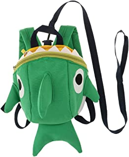Prettyia Kids Safety Harness Anti-Lost Backpack Cute Shark Schoolbag for Walking Baby Toddler –Green