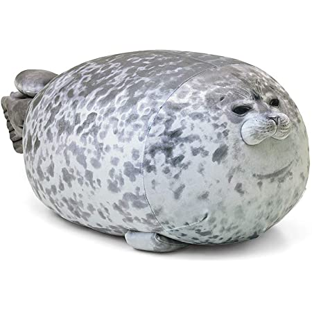 Rainlin Cute Blob Seal Pillow Round Chubby Seal Pillow Soft Hug Plush Pillow Stuffed Cotton Animals Plush Toy (Large (23.6 x12.6 x10.6 inches), Grey)