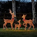 Lights4fun, Inc. Set of 3 Brown Glitter Stag, Doe & Fawn Reindeer LED Christmas Light Up Figures Decoration for Indoor Outdoor Use
