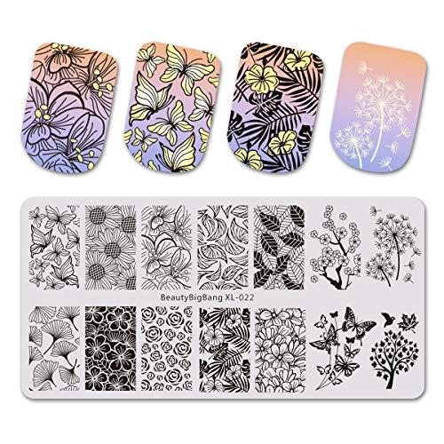 Beautybigbang XL-022 Plaque de stamping pour ongles, modèle de fleurs, feuilles, rose, papillon, nail art