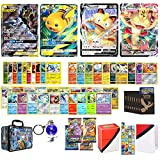 Totem World Pokemon V, VMAX, Tag Team GX & GX Ultra Rare Guaranteed with 4 Booster Packs, 10 Holo, 10 Rares, 40 Regular Cards, Totem Deck Box, Elite Sleeves, Mini Binder, Keychain in Storage Chest Tin
