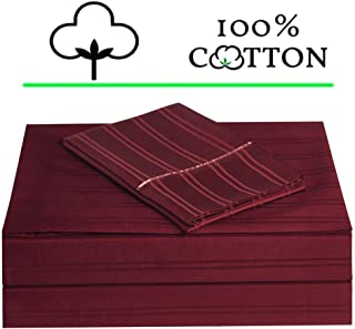 ELINEN Queen Size Bed Sheet Set 4 Pieces, 450 Thread Count 100% Long Staple Cotton Sheets, Sateen Weave, Up to 18