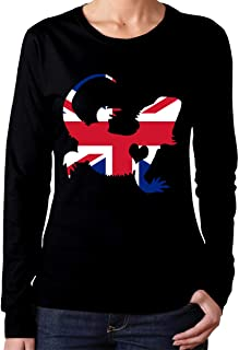 Ladies British Flag Bearded Dragon Silhouette Comfort Round Neck T-Shirt with Long Sleeves