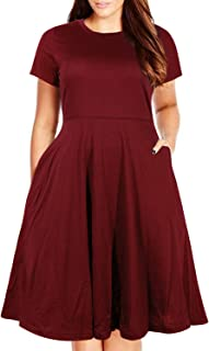Nemidor Women's Round Neck Summer Casual Plus Size Fit and Flare Midi Dress with Pocket
