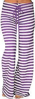 KINDOYO Women's Stripe Yoga Pants,Pilates Pants,Casual Loose Wide Leg Pants Drawstring Trousers (Purple Stripes,UK XL = Ta...