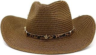 ウエスタンカウボーイハット カウボーイハットジャズ帽子男性女性紳士アウトドアビーチ帽子日焼け止め西部五芒星ヒョウ革ベルト麦わら帽子バイザー帽子 (色 : コーヒー, サイズ : 56-58CM)