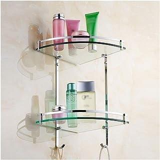 ZhanMaZW - Toallero para cuarto de baño, estante de cristal de 2 pisos, fijación a la pared, de cobre y cromo, cesta de ducha, de cristal, 39,5 cm