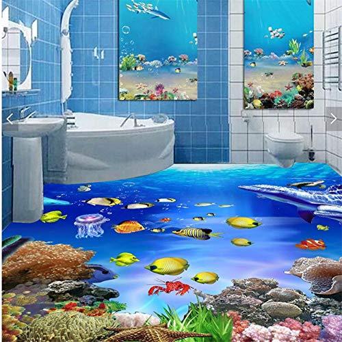 Große Benutzerdefinierte 3D Selbstklebende Wasserdichte Boden Aufkleber Meerwelt Badezimmer Badezimmer 3D Stereo Bodenfolie, 250 * 175 Cm